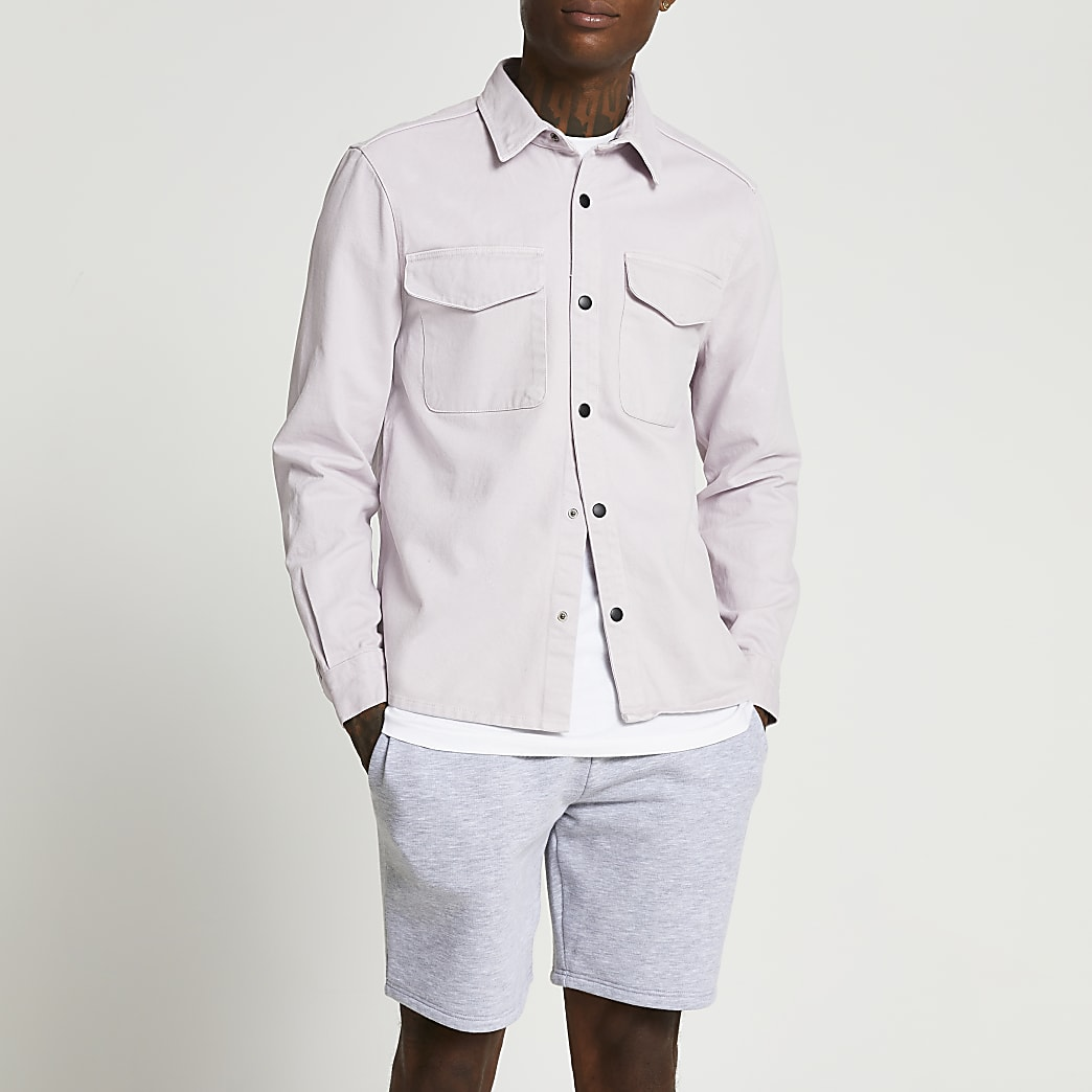 Purple washed button shacket