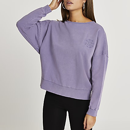 Purple washed open back sweatshirt