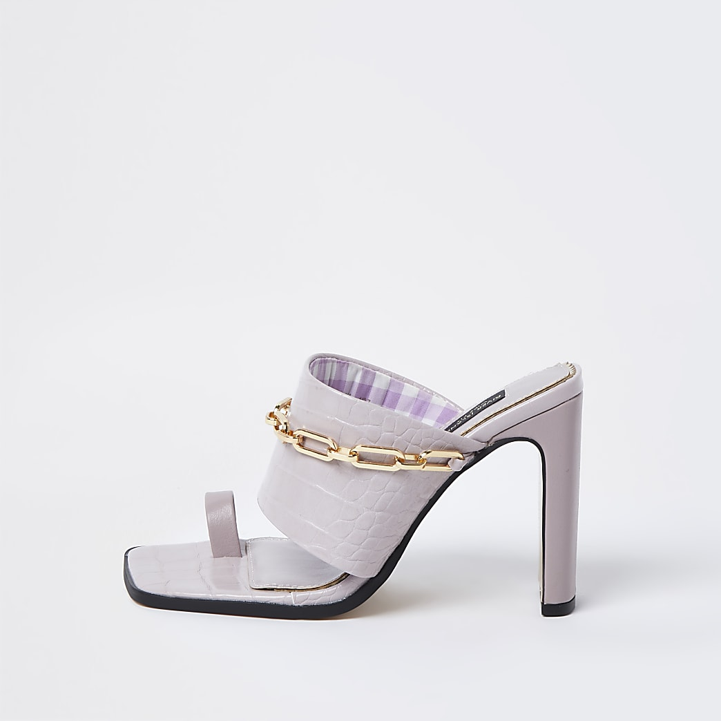 Purple wide fit chain detail heeled mules