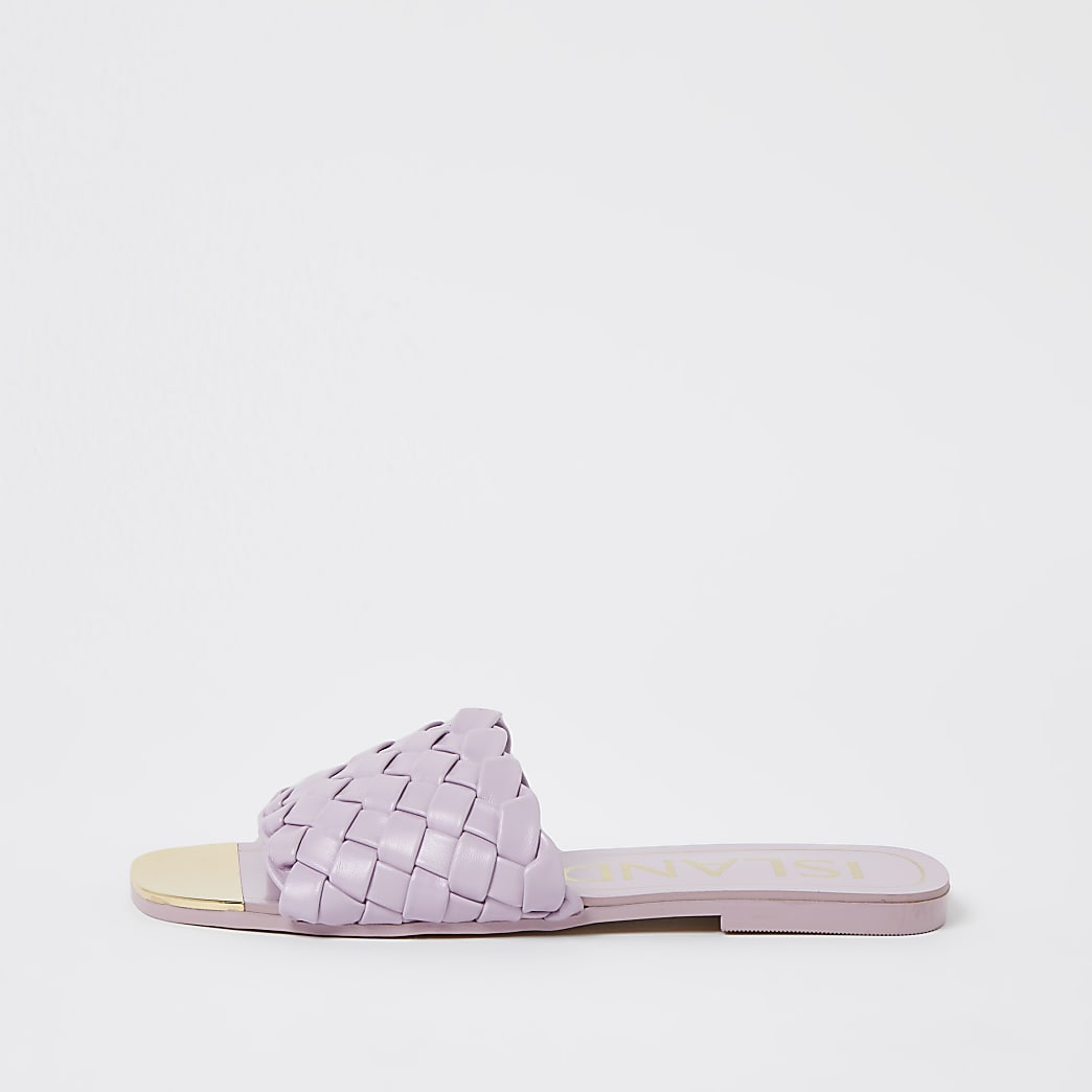 Purple woven flat sandals