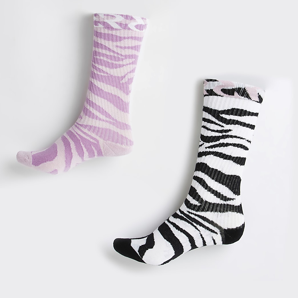 Purple zebra print tube socks 2 pack