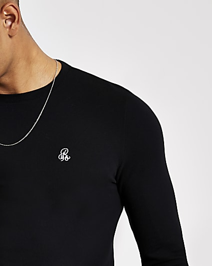 R96 black muscle fit long sleeve T-shirt