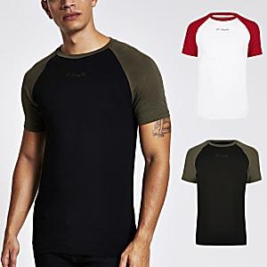 R96 – Schwarzes Muscle Fit T-Shirt mit Raglanärmeln, 2er-Pack