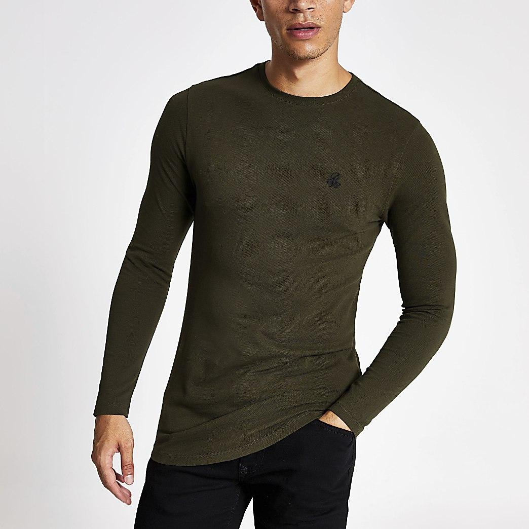 R96 - Donkergroen T-shirt met lange mouwen