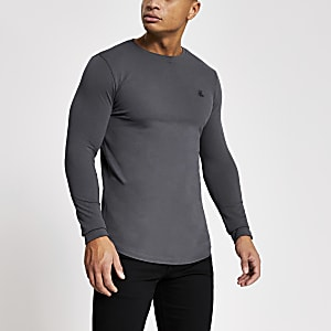 R96 – Graues, langärmeliges Pikee-T-Shirt im Muscle Fit