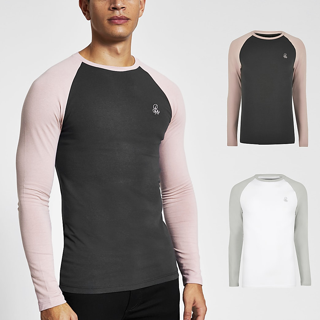 R96 - Set van 2 raglan muscle fit tops met lange mouwen