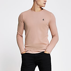 R96 - Roze muscle fit piqué T-shirt met lange mouwen