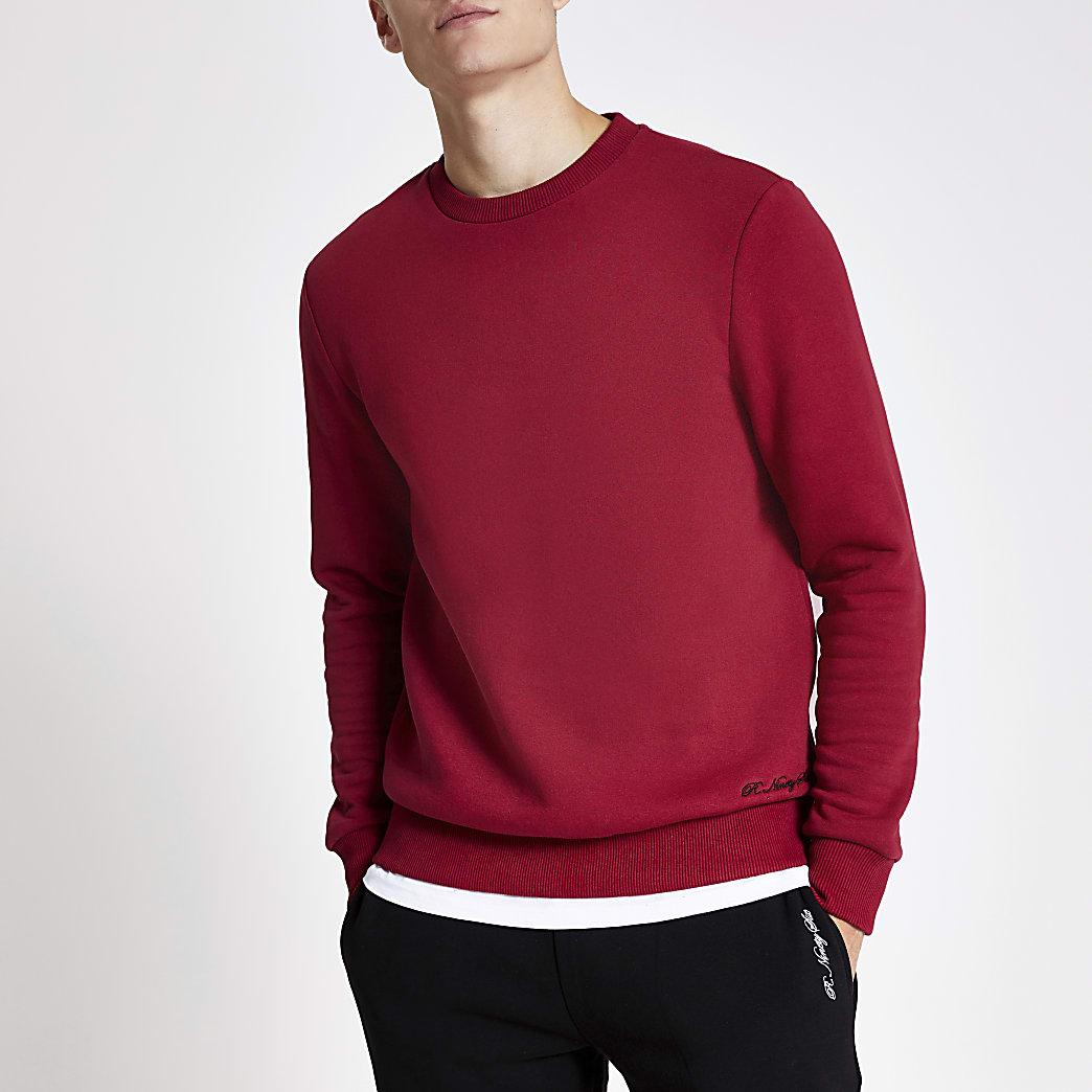 R96 red slim fit sweatshirt