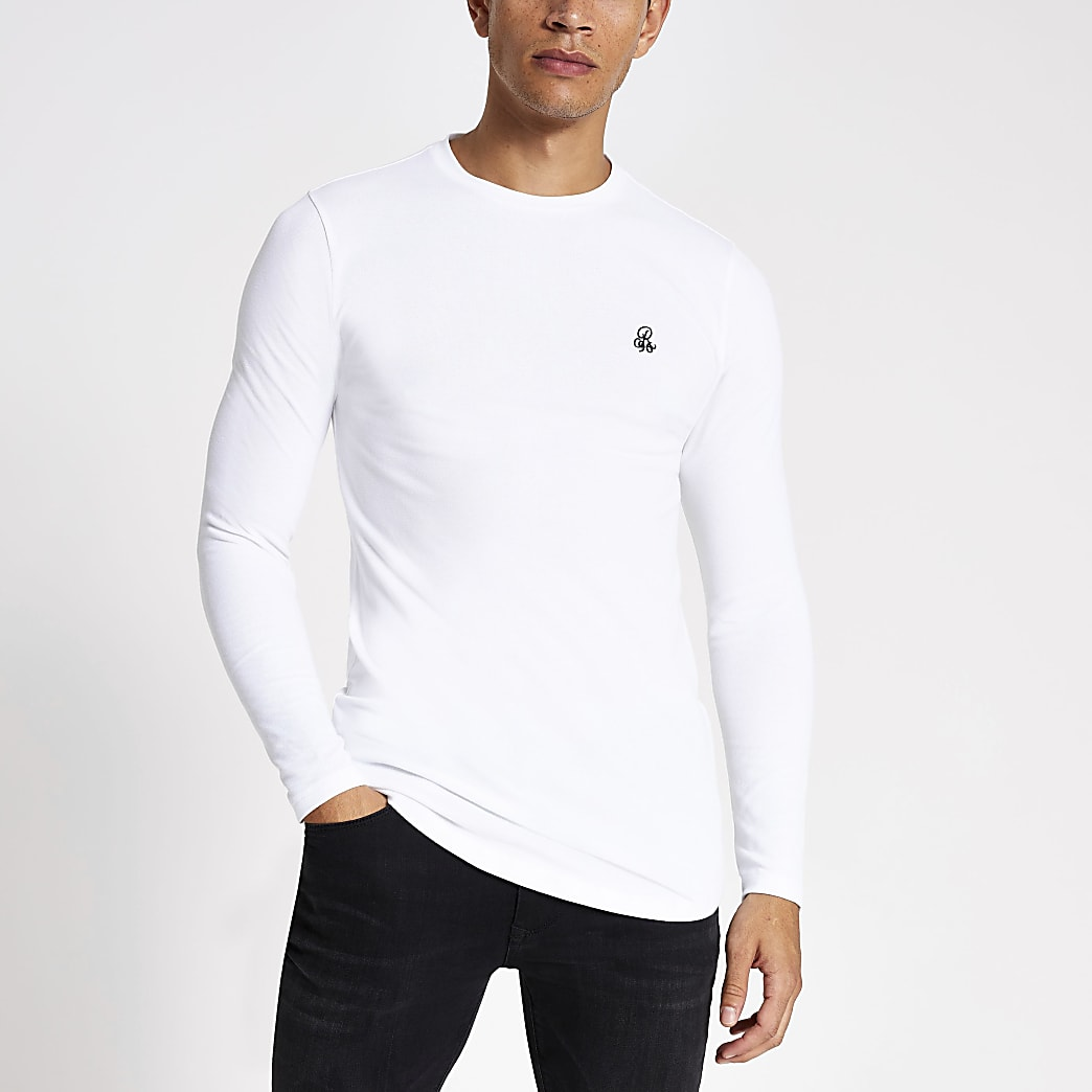 R96 white long sleeve muscle fit T-shirt