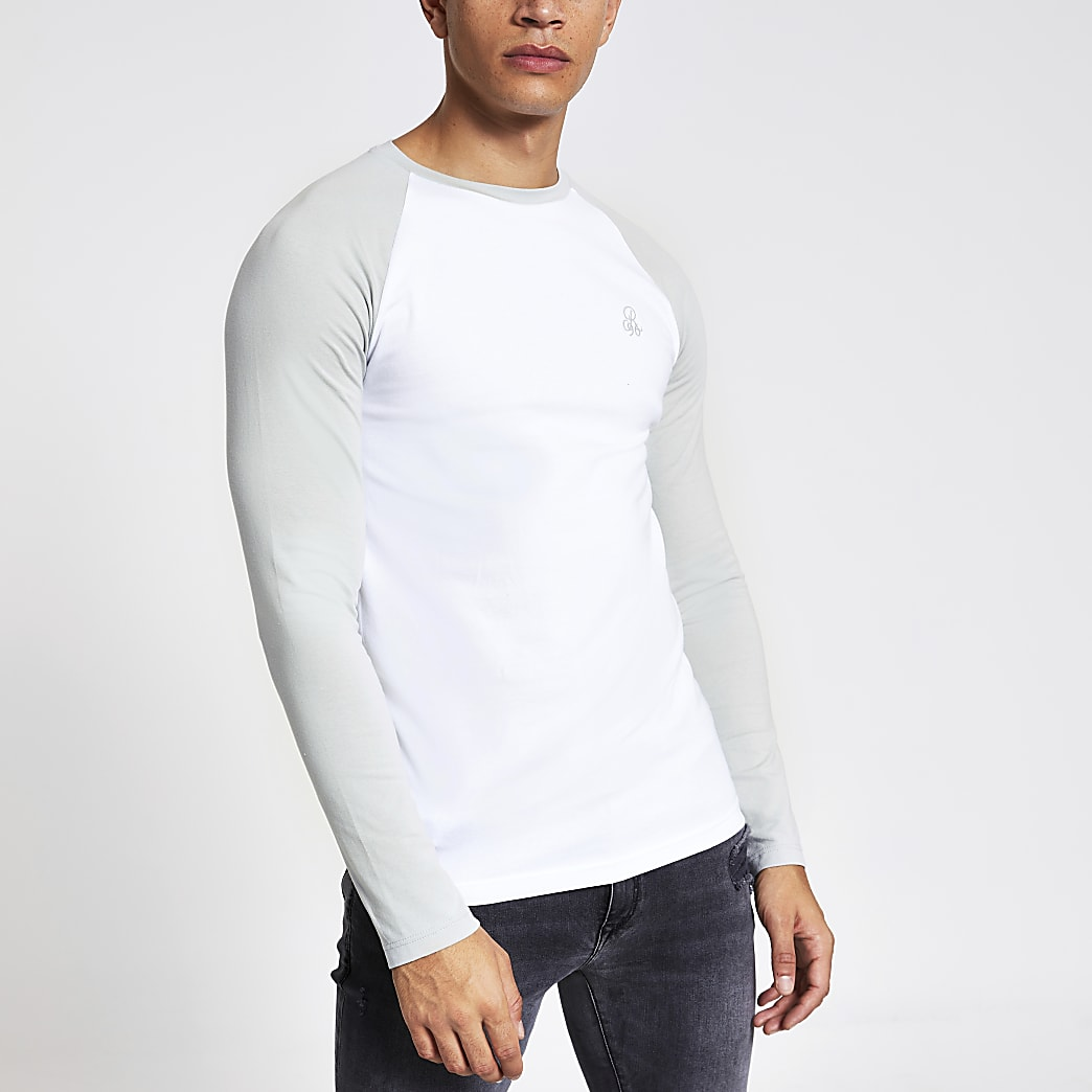 R96 white raglan muscle fit T-shirt