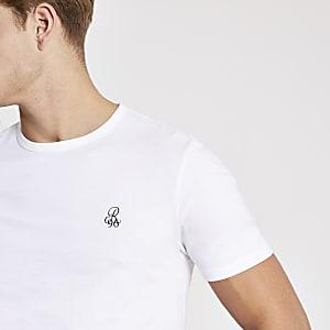R96 – Kurzärmeliges Slim Fit T-Shirt in Weiß