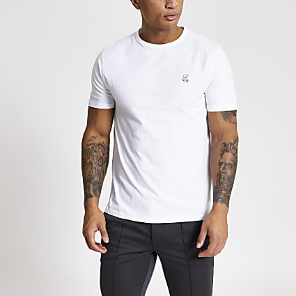 R96 white slim fit T-shirt