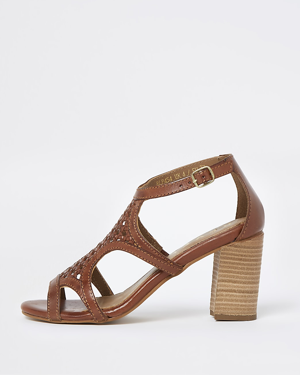 Ravel beige cut out leather heel block sandal