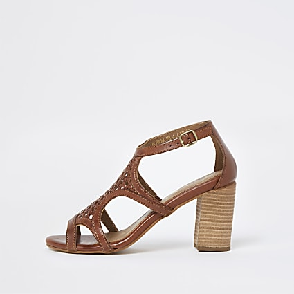 Ravel beige cut out leather heel block sandal