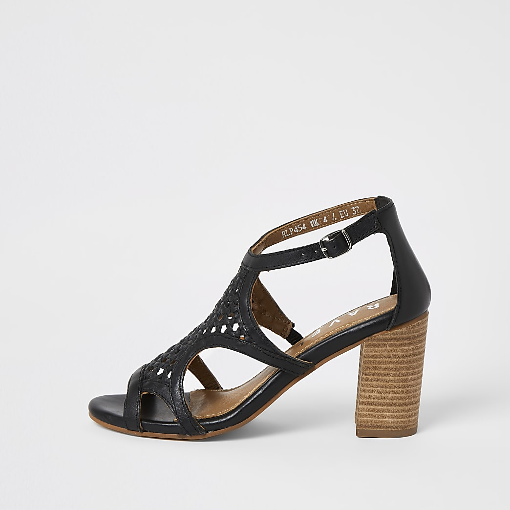 Ravel black caged block heel