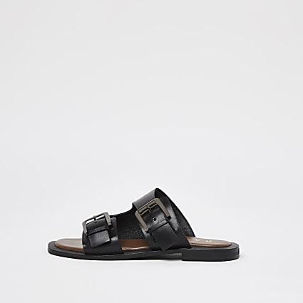 Ravel black double buckle sandal