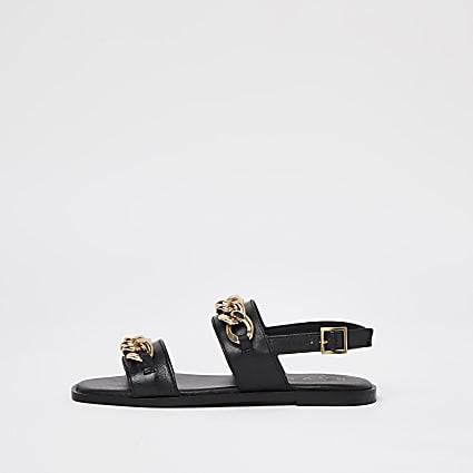 Ravel black double strap chain sandal