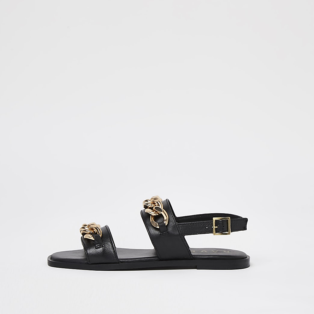 Ravel black double strap chain sandal