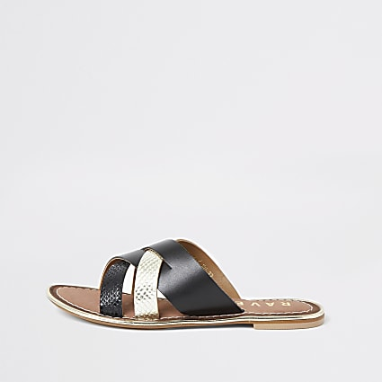 Ravel black leather cross over Mule sandal