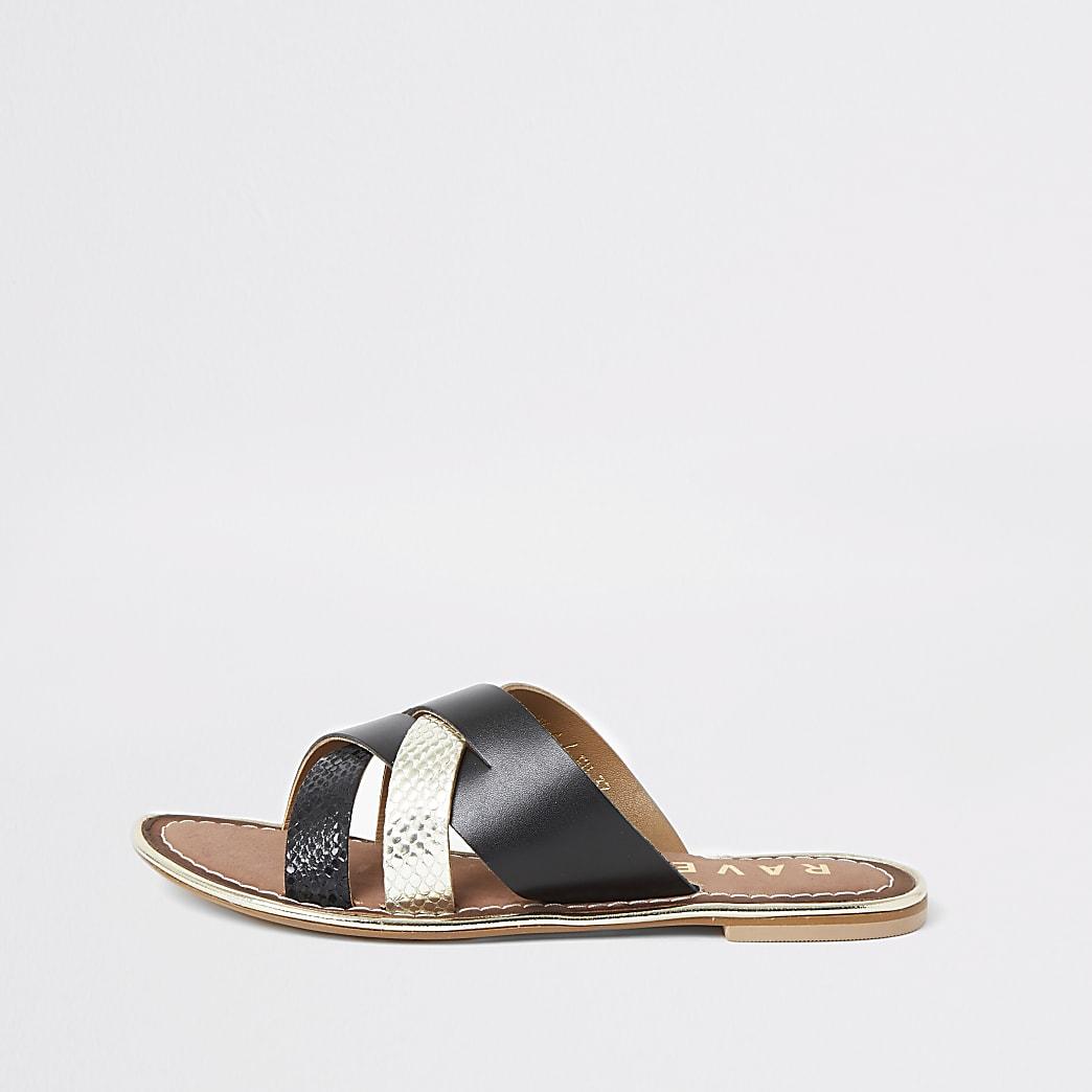 Ravel black leather cross over Mule sandal