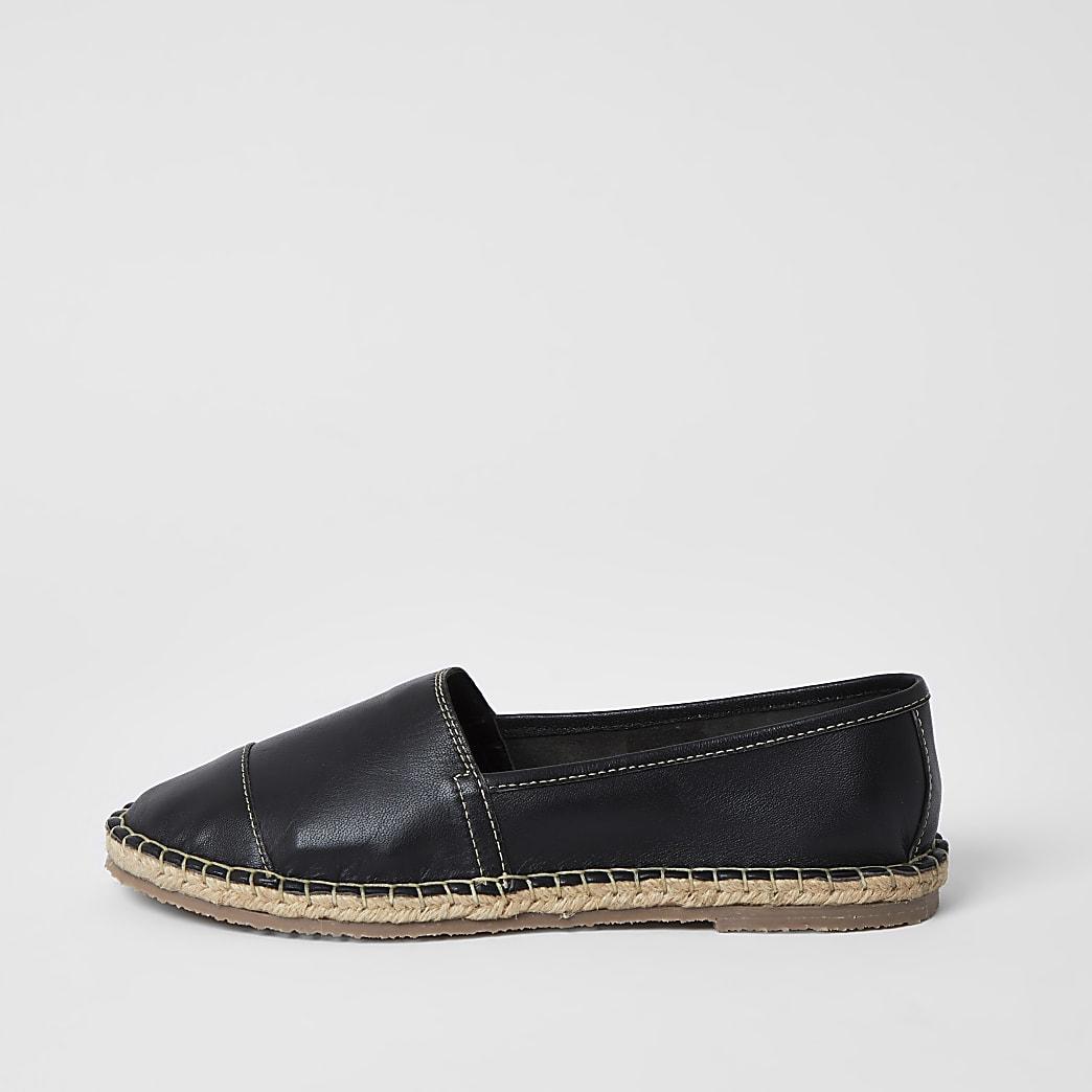Ravel - Zwarte leren espadrille sandalen