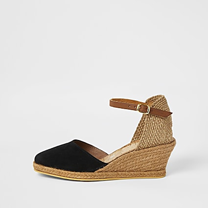 Ravel black leather espadrille wedges