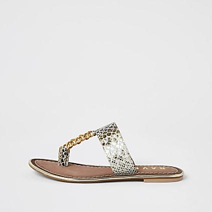 Ravel black leather toe ring sandals