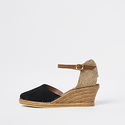 Ravel black wedge sandals