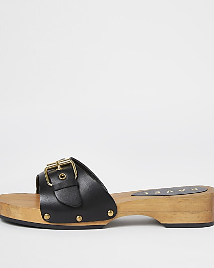 Ravel black wood sole sandals