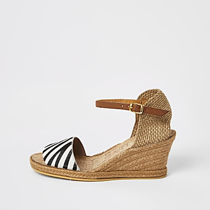 Ravel black zebra print open toe wedge sandal