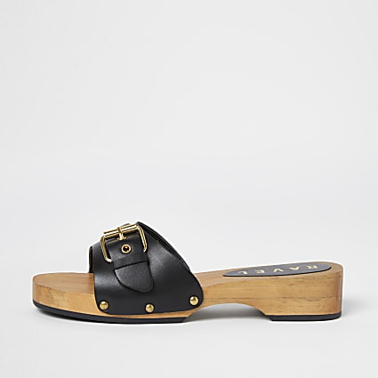 Ravel blue wood sole sandals