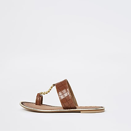 Ravel brown croc chain sandal