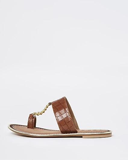 Ravel brown croc chain sandal
