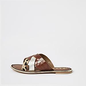 Ravel – Sandales croisées en cuir marron