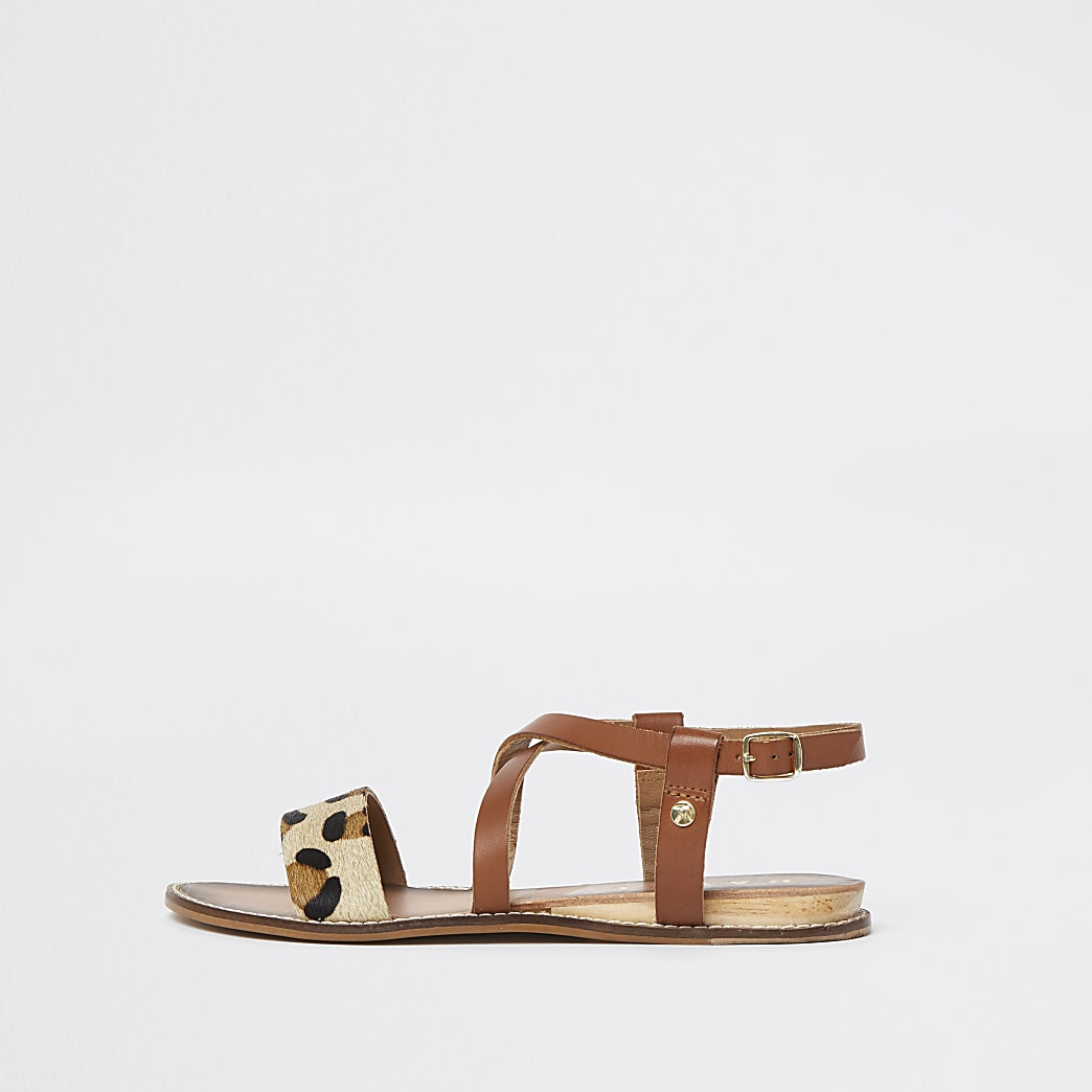 Ravel brown leather leopard print sandal
