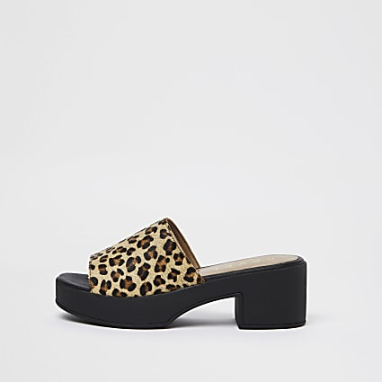 Ravel brown platform mules