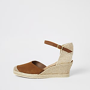 Ravel - Bruine suède espadrille sandalen met sleehak