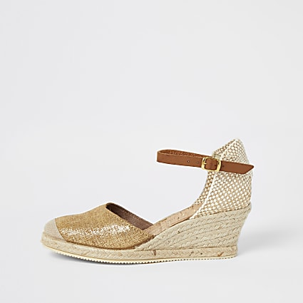 Ravel gold espadrille wedges