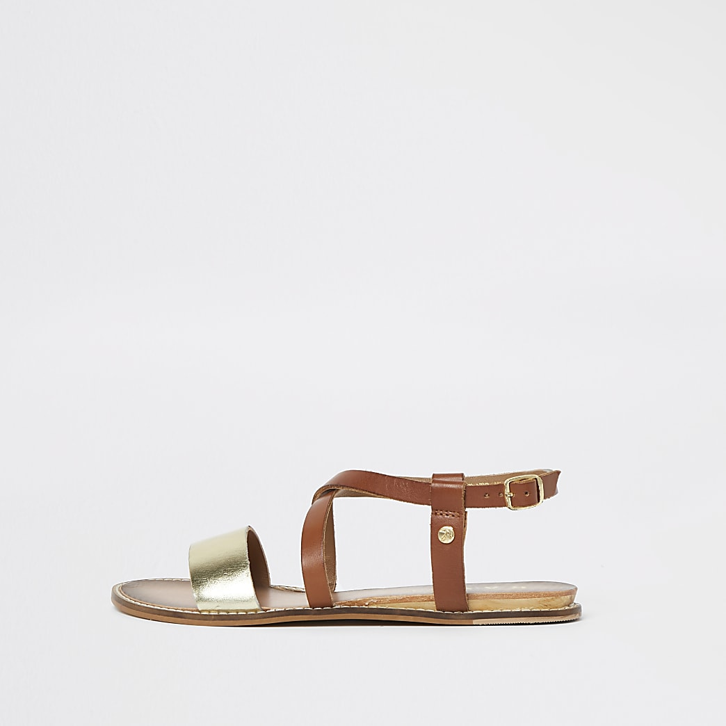 Ravel gold leather sandal