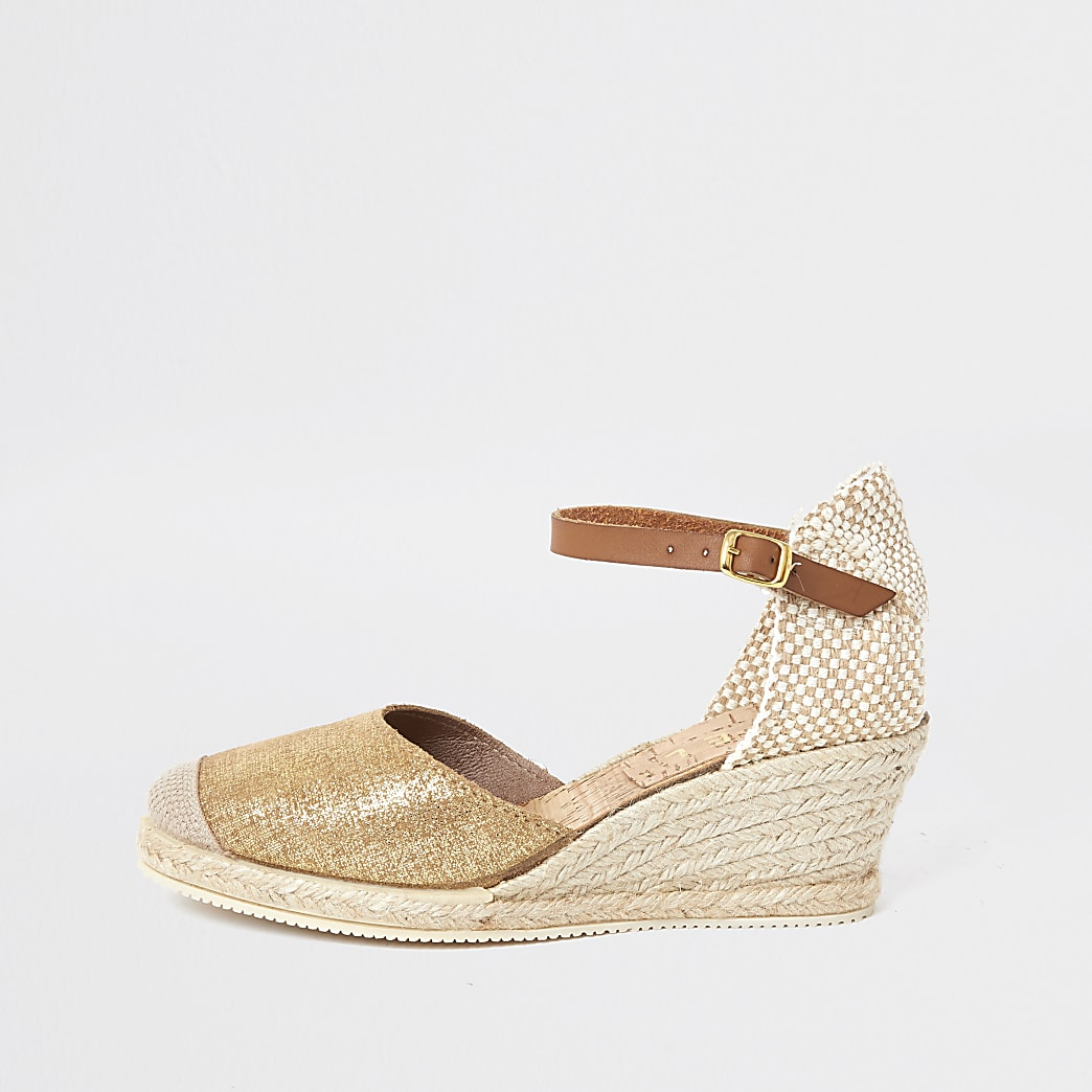 Ravel gold wedge sandal
