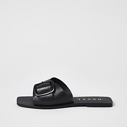 Ravel leather buckle strap Mule sandal