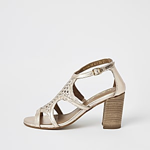Ravel rose gold leather caged sandals
