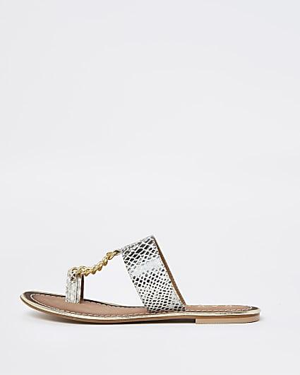 Ravel silver croc chain sandal