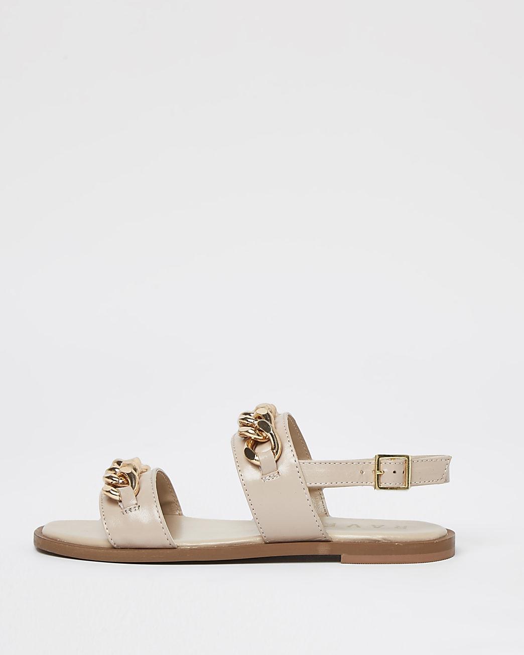Ravel white double strap chain sandal