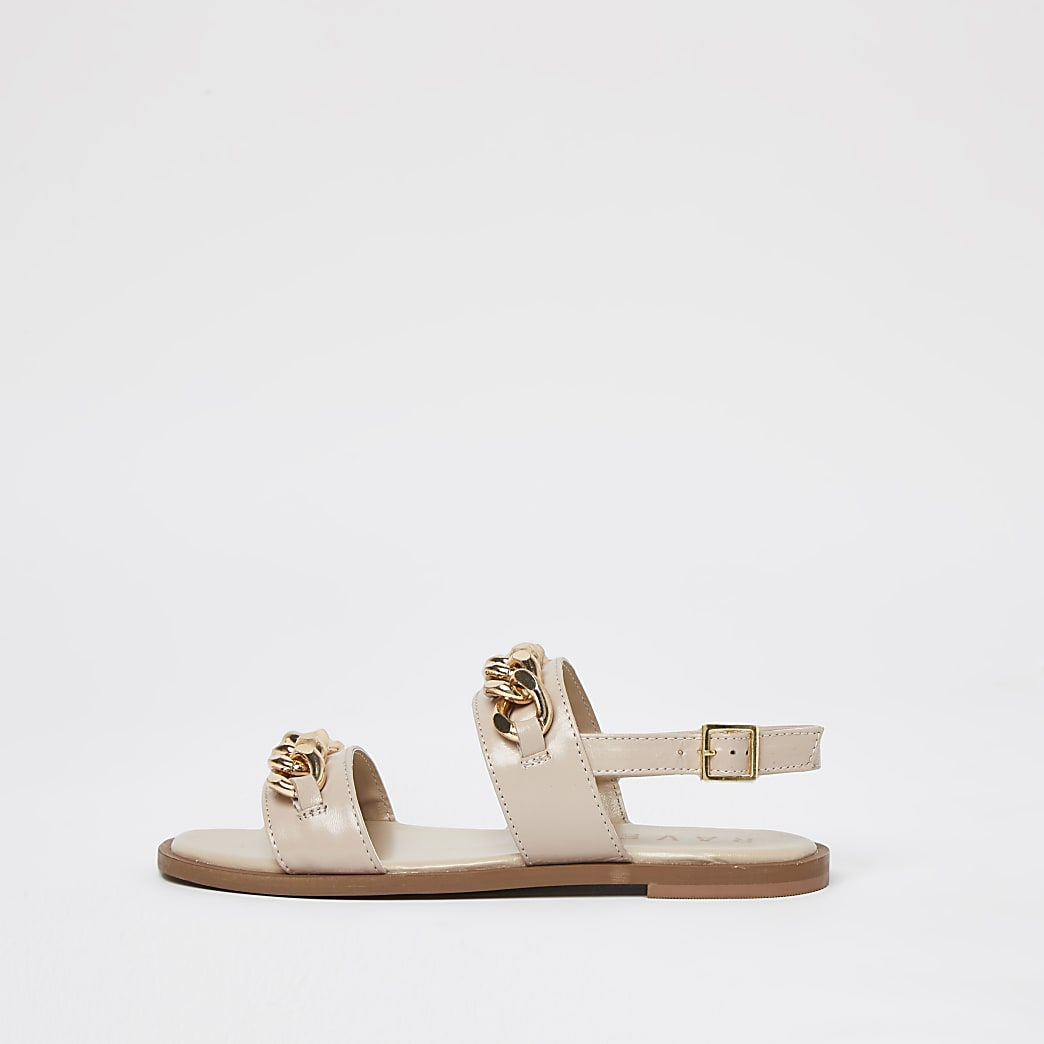 Ravel white double strap chain sandal