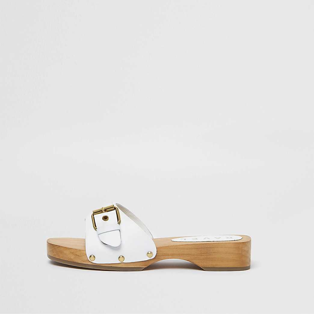 Ravel white wood sole sandals