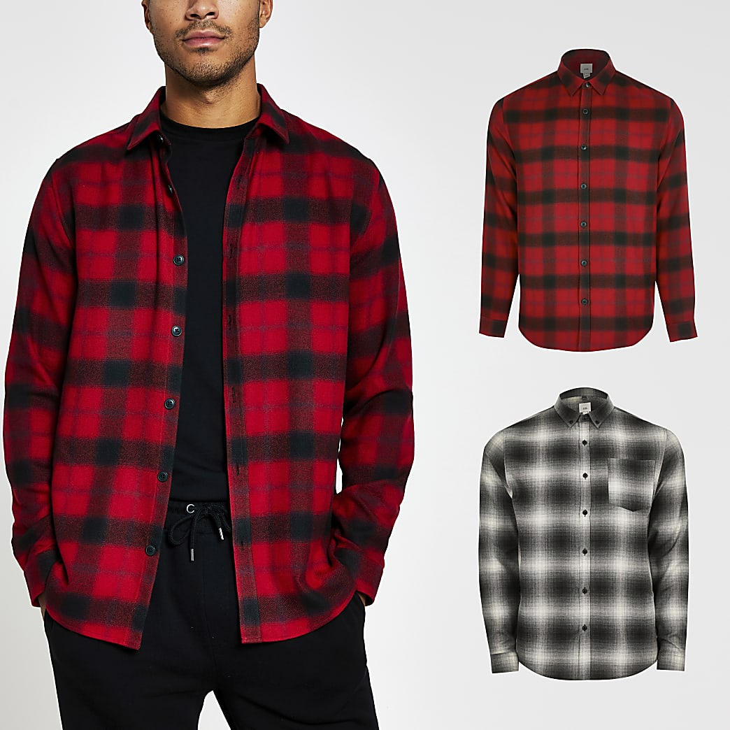 Red 2 pack long sleeve check shirts