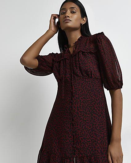 Red animal print ruffled mini dress