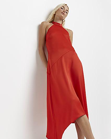 Red asymmetric halter neck midi dress