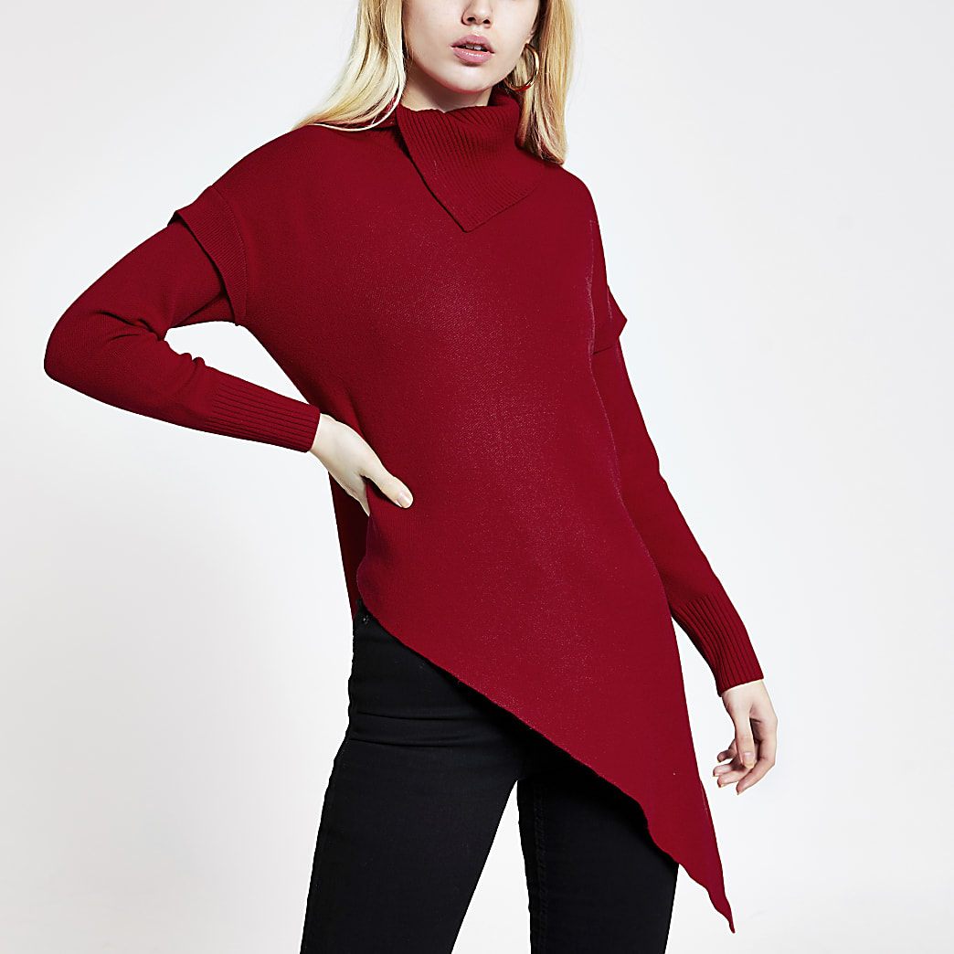 Red asymmetric knitted tunic jumper